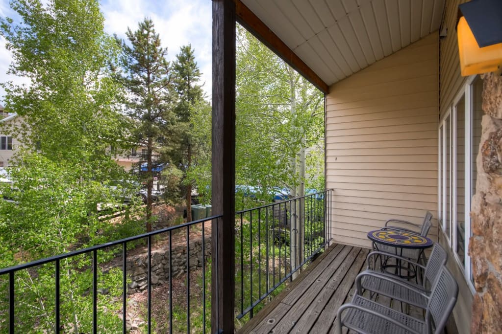 Step out to the private balcony for some fresh mountain air back at the condo.