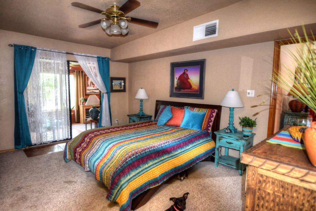 Master bedroom with access to the back porch.