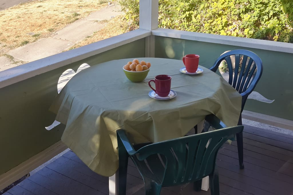 Breakfast or BBQ on front porch!