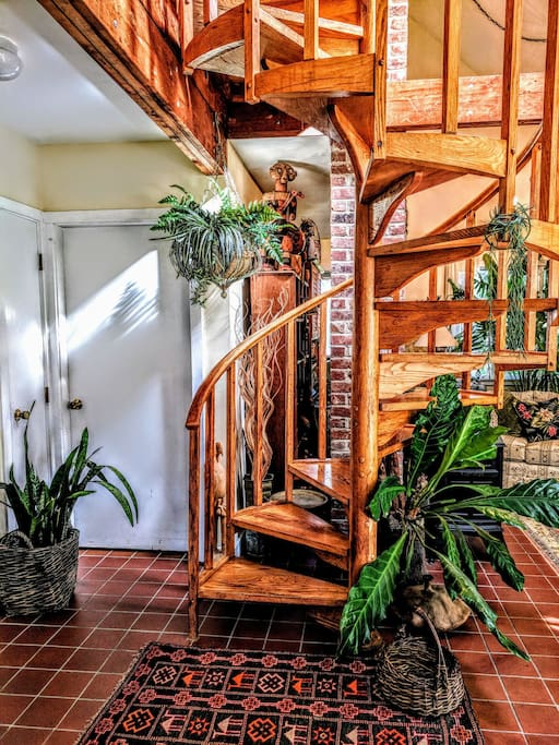 spiral staircase to second floor bedrooms.