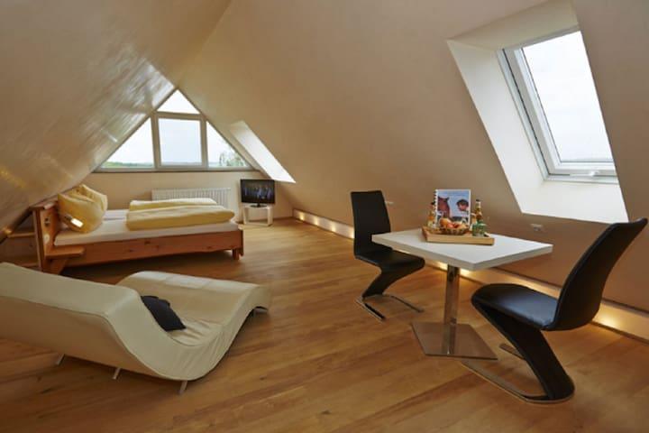 Urlaubsreiterhof Trunk (Igersheim), Ferienwohnung Wolke 7 für 1-2 Personen im Dachspitz mit wundervollem Blick über das Taubertal