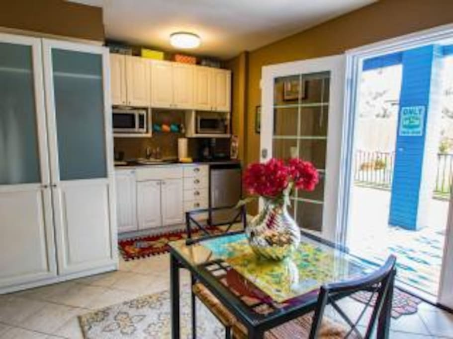 Your own kitchenette includes microwave, toaster oven, small frig, coffee maker and needed dishes, utensils.