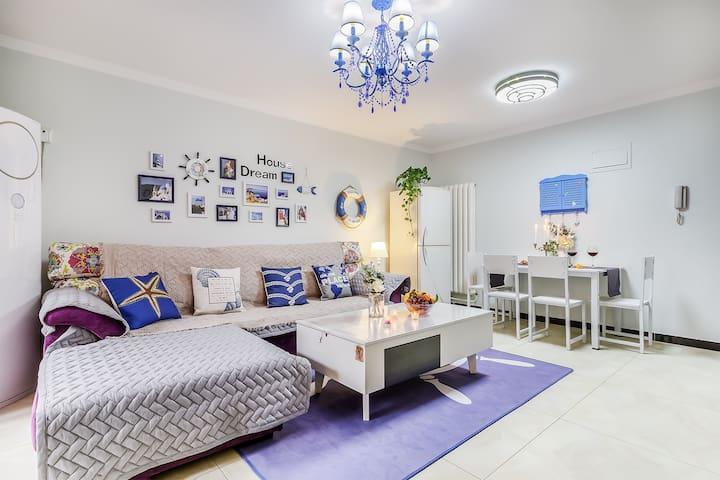 欢乐谷附近地铁直达大栅栏田园地中海主题两居室