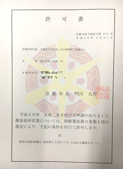 蛮子民宿·二条·松,已获得京都市政府颁发的许可