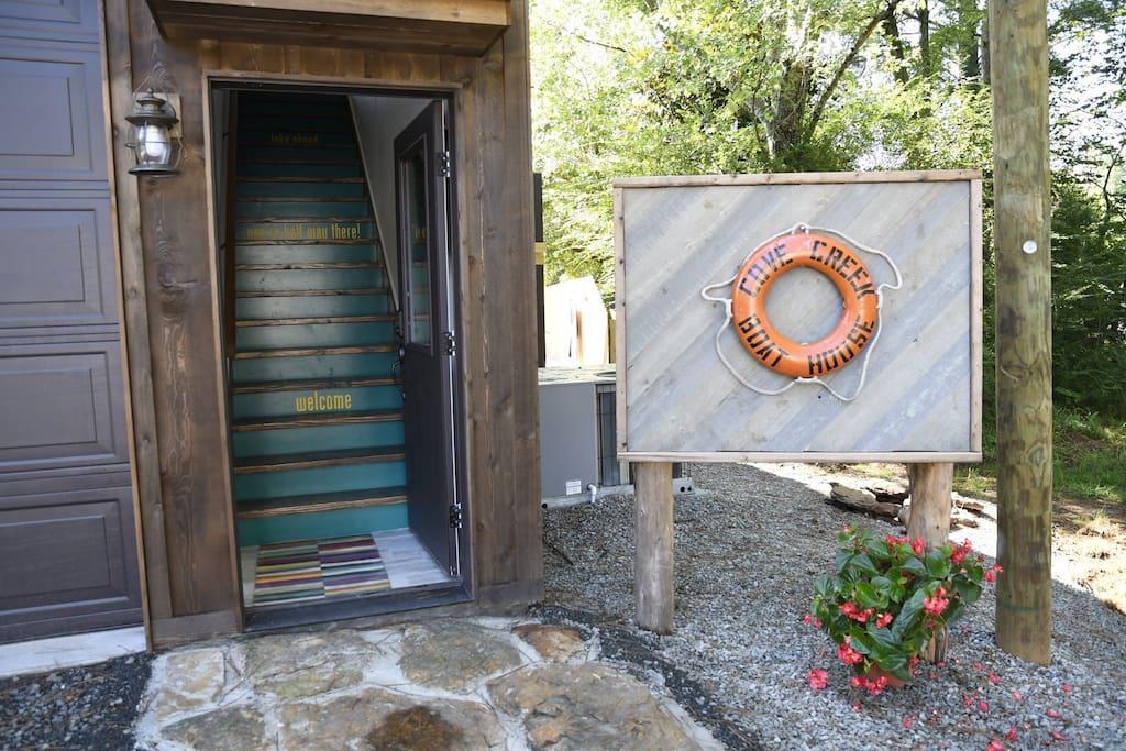 Cove Creek Boathouse - streetside entry