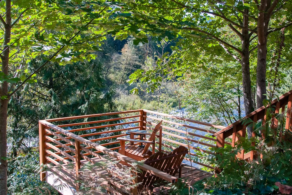 We really do want you to enjoy this deck! So close and overlooking the river. WIFI works here too!