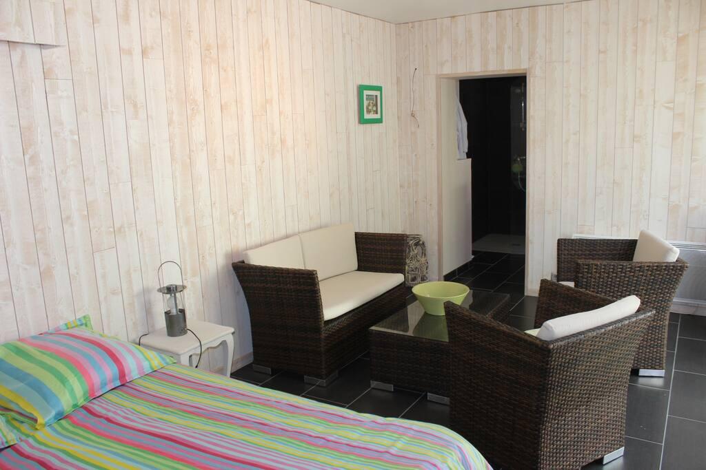 Chambre confortable avec salle d'eau privée