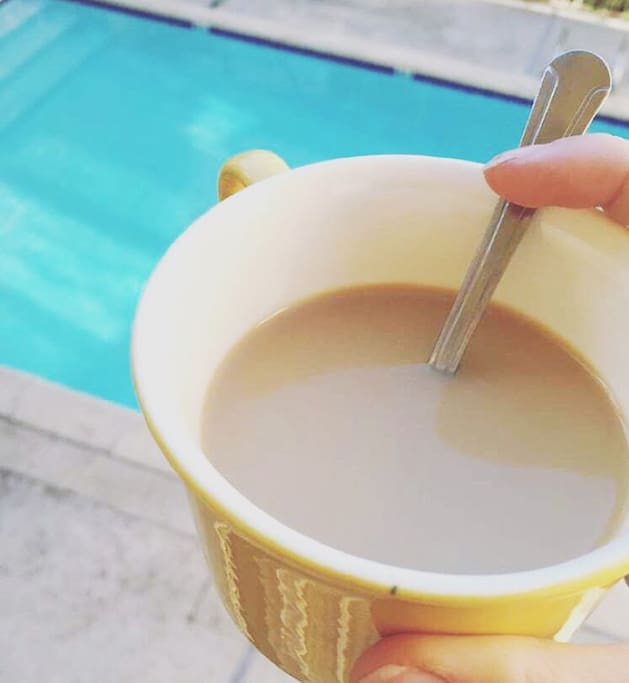 Nothing better than a cup of tea and a dip in the pool!