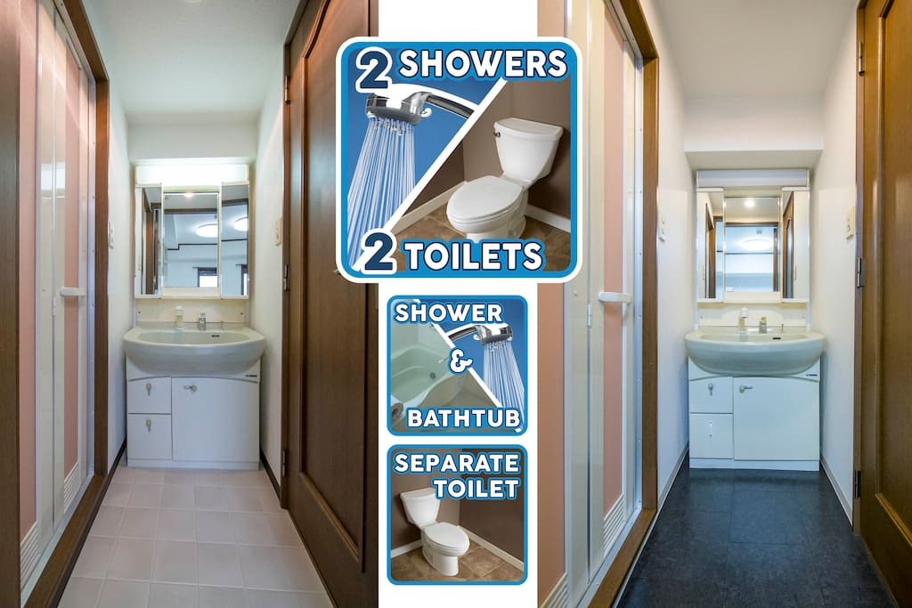 Stop waiting for other people to get ready - use our two bathrooms, each with separate toilet, shower/bath, and sink unit.