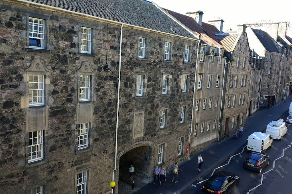 View of historic Royal Mile from living room