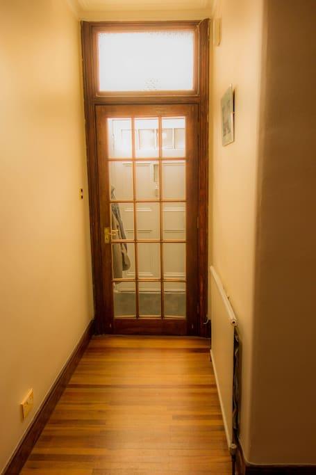 Sunny vestibule keeps flat nice and quiet