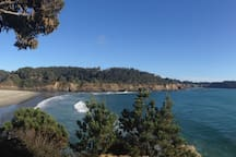 Big River Beach, Mendocino. The beach is a mile and a bit from the campground.