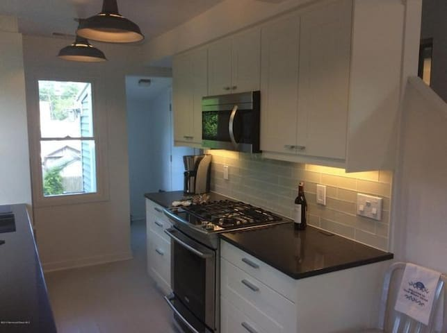 Brand new kitchen with full cooking range and microwave