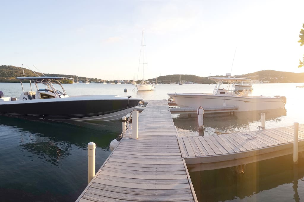 If you come by private boat or hire a water taxi, you can dock right outside your villa for a small fee.