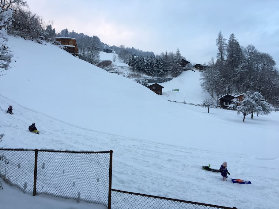 Enjoy sledging right in front of the house