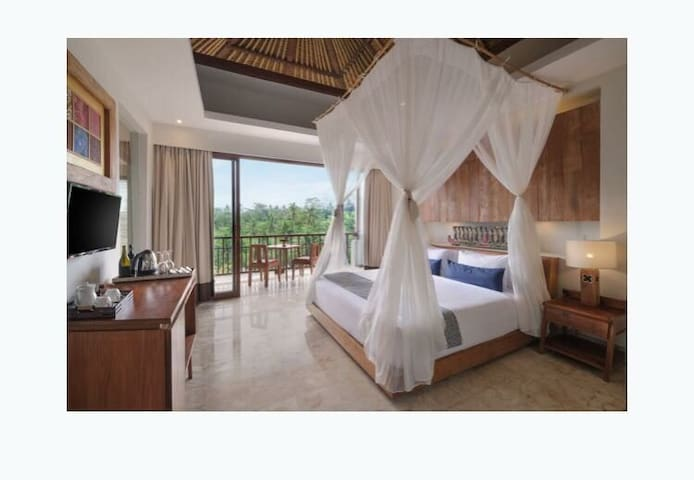 One bed room with rice terrace view