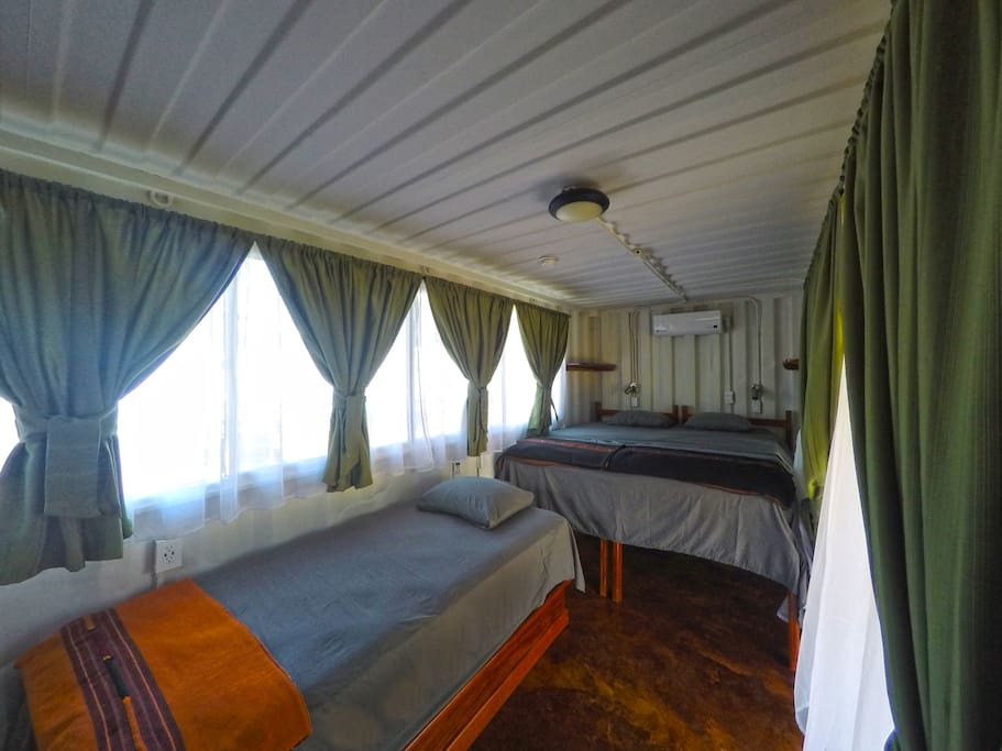 Spacious and comfortable with real mattresses and AC.
