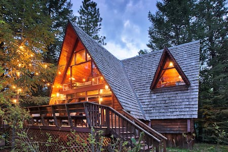 Chalet-like cabin close to town with rustic charm.