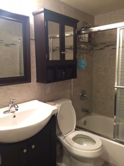 Refinished bathroom with soap, shampoo, conditioner and Sudoku!