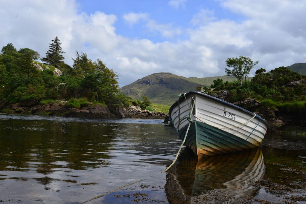A local's rowboat on the tidal inlet which can be seen from the Cottage.