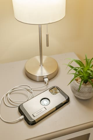 Nightstand lamps equipped with USB port for easy charging