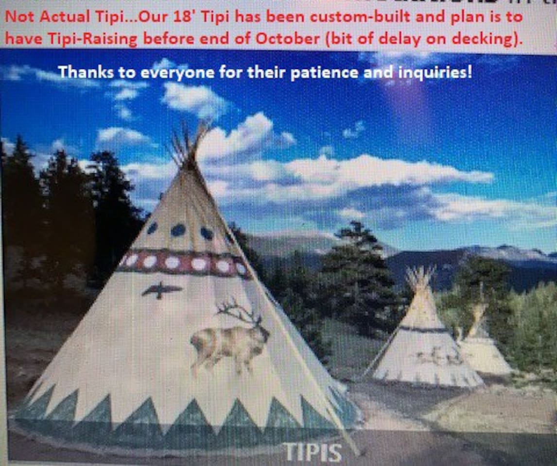 Not Actual Tipi...Our 18' Tipi has been  Custom Designed...we had a slight delay in building our platform for our tipi,  however, we should complete decking/tipi raising by end of October.  Thanks for your patience...so exciting!!