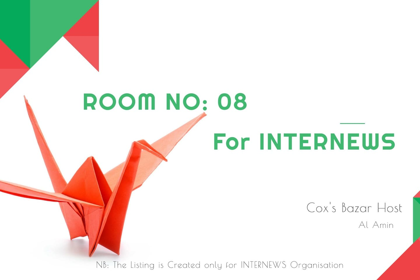 The listing is created only for Internews Organisation.