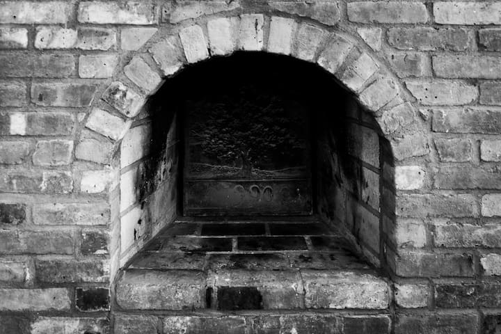 It looks like you could cook a pizza in the fireplace, but no fires, please
