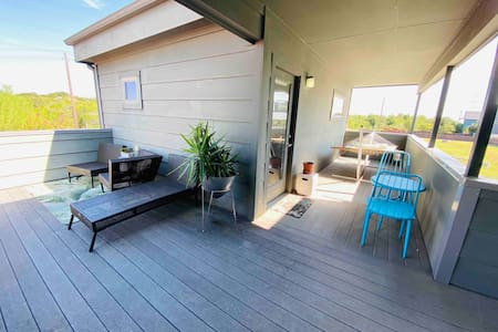 Private efficiency with relaxing patio.