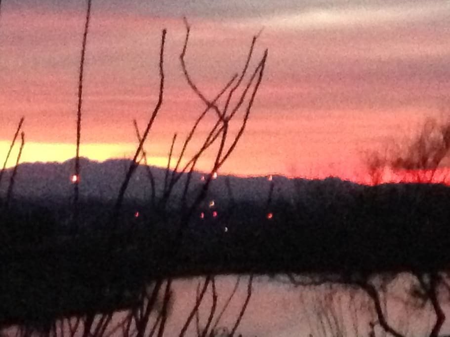 Sunset view from patio.  Best sunset views you will every see, are here in the Highlands.
