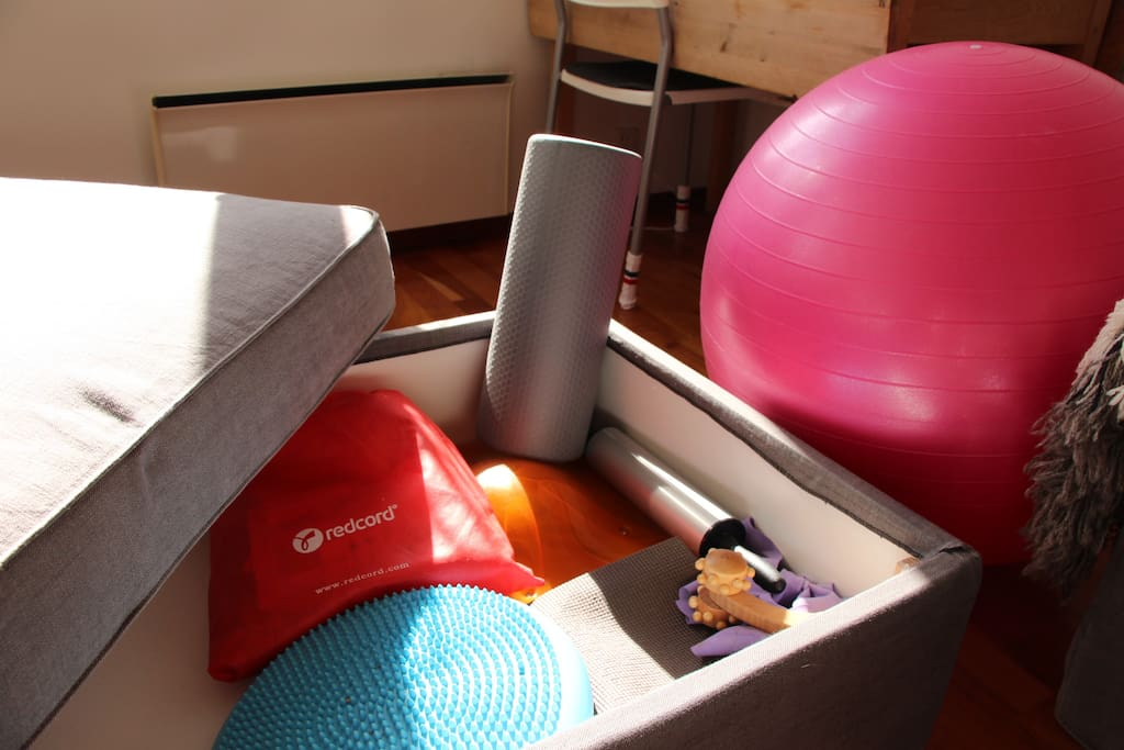 In-house gym facilities! Balance board, Red Cord straps, foamroller (and a rolling pin!), pilates ball, yoga mat, balancing board, elastic band, etc.