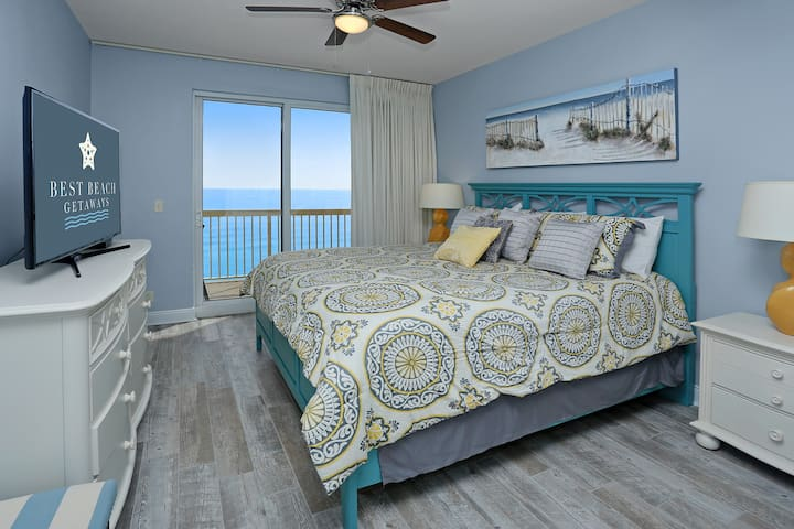 """Master Bedroom with Gulf View & 50"""" Flat Panel LED TV, DVD Player"""