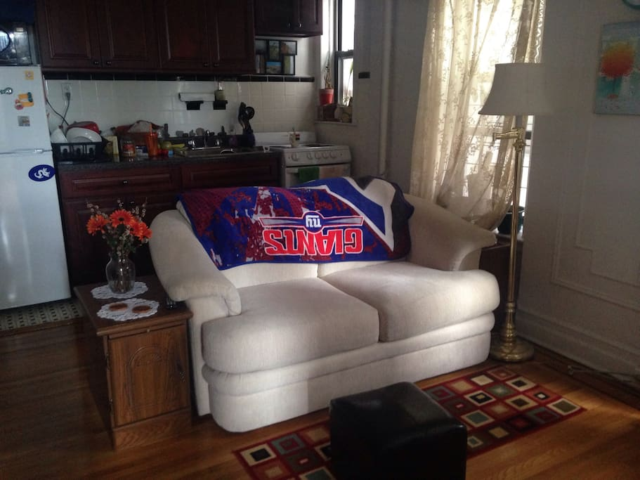 Living room with comfortable two seater couch and TV.