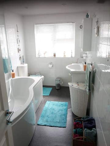 Spacious light and airy bathroom with Power Shower. This will be your own            Private Bathroom during your stay with us.