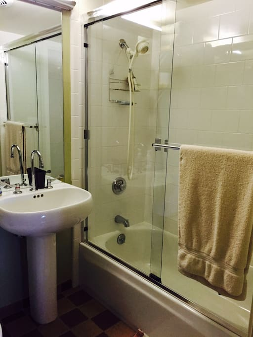 Shower/bathtub is furnished with organic shampoo, conditioner and shower gel