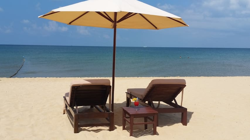 Room on the beach with sunbeds and umbrellas