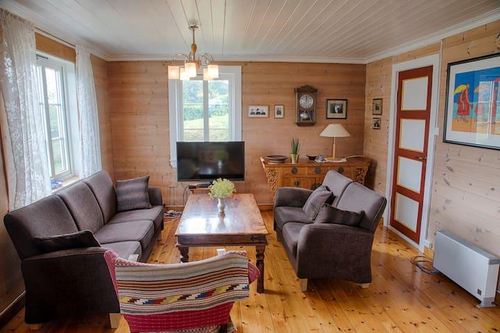 The living room has kept the original wooden walls.