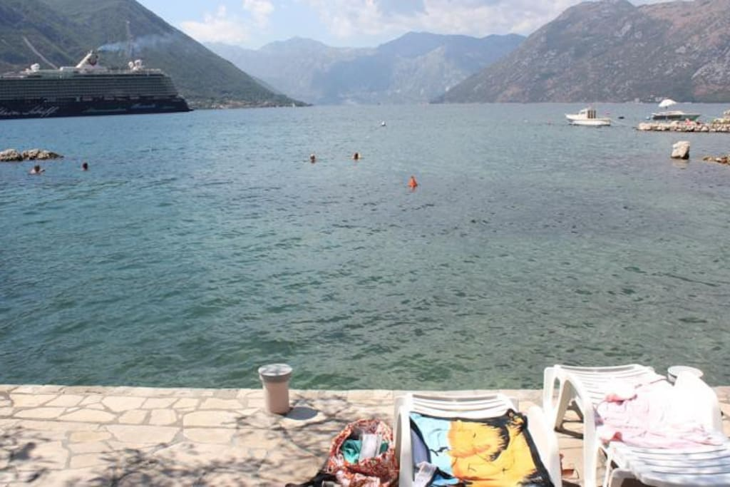 enjoy the deck chairs on the private beach