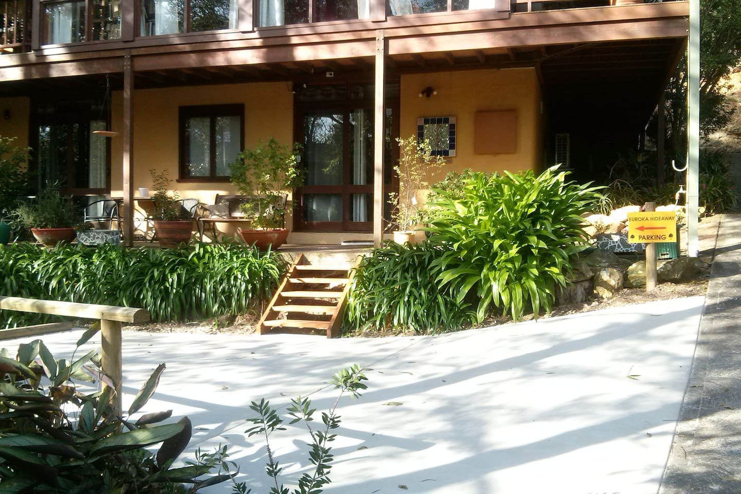 Your own parking area & view of Euroka Hideaway