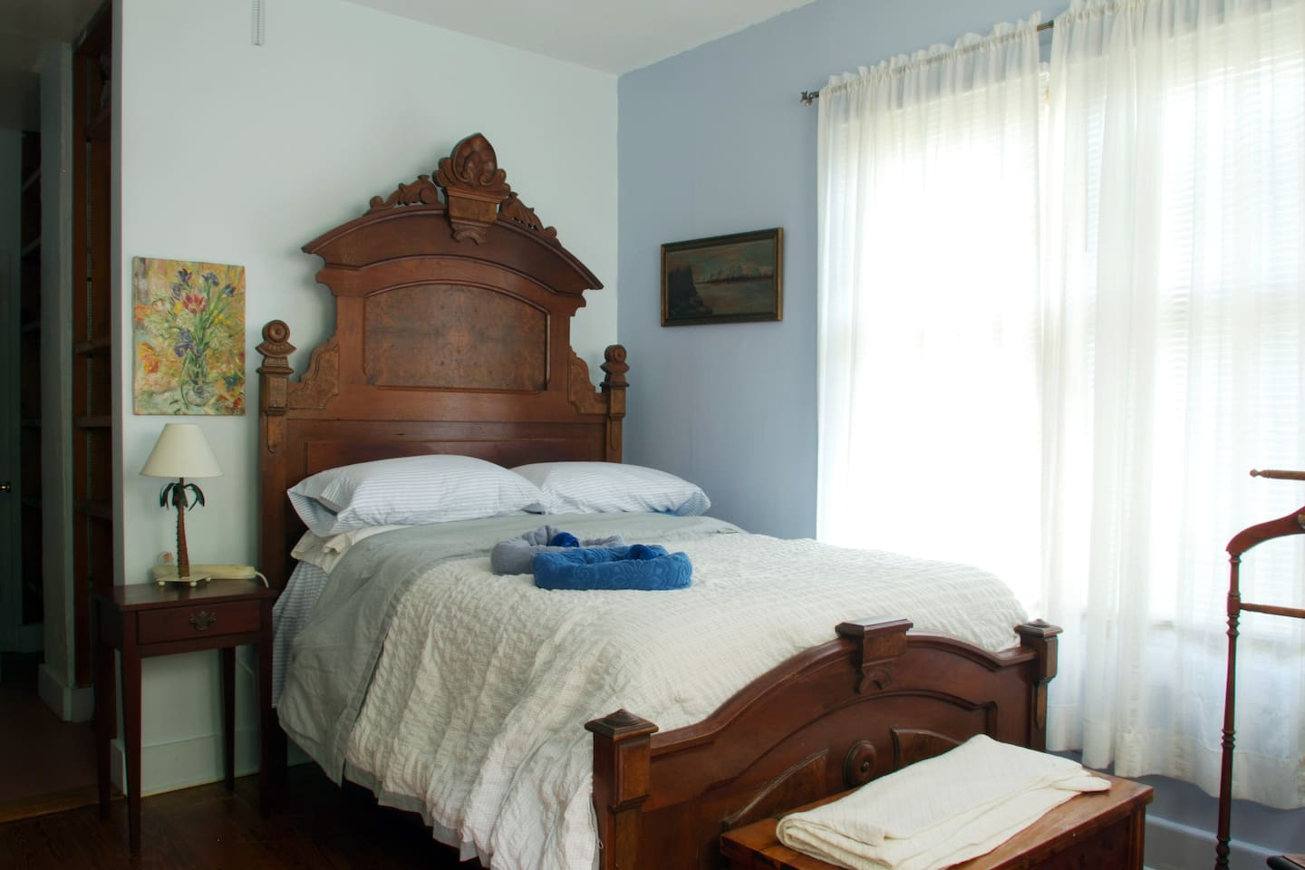 Very comfortable double bed in first bedroom 1860s