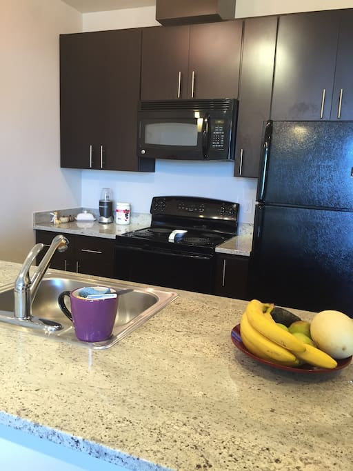 Kitchen with microwave, fridge and granite counters. Bananas not included