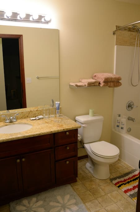 Your private bath room with beautiful granite counter top