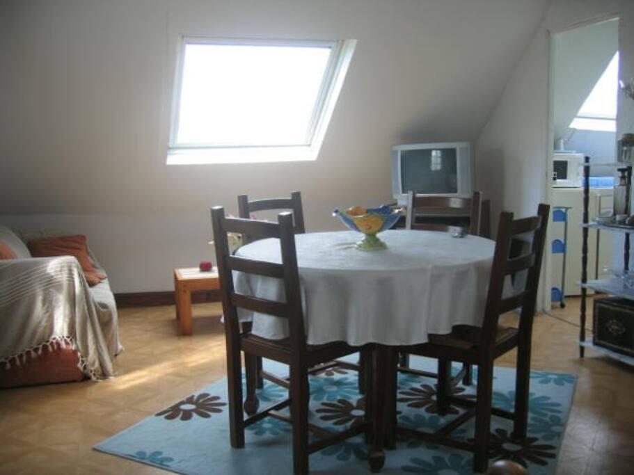 Salle commune + canapé-lit (2 places) + lit (1 place)