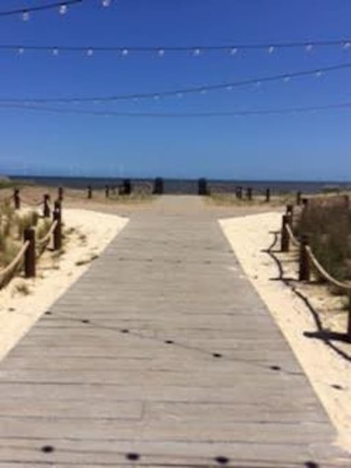 To the beach via the holiday parks own boardwalk