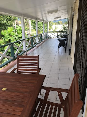 The front veranda has plenty of space to enjoy a morning coffee whilst cooling in the glorious breeze