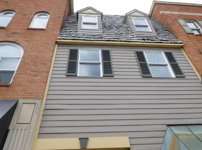 Street View: This listing is for the 2nd floor level (green shutters) - entrance directly in front.