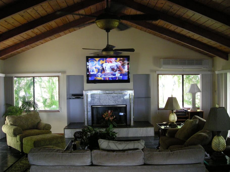 """Family Room with 60"""" flat screen TV"""
