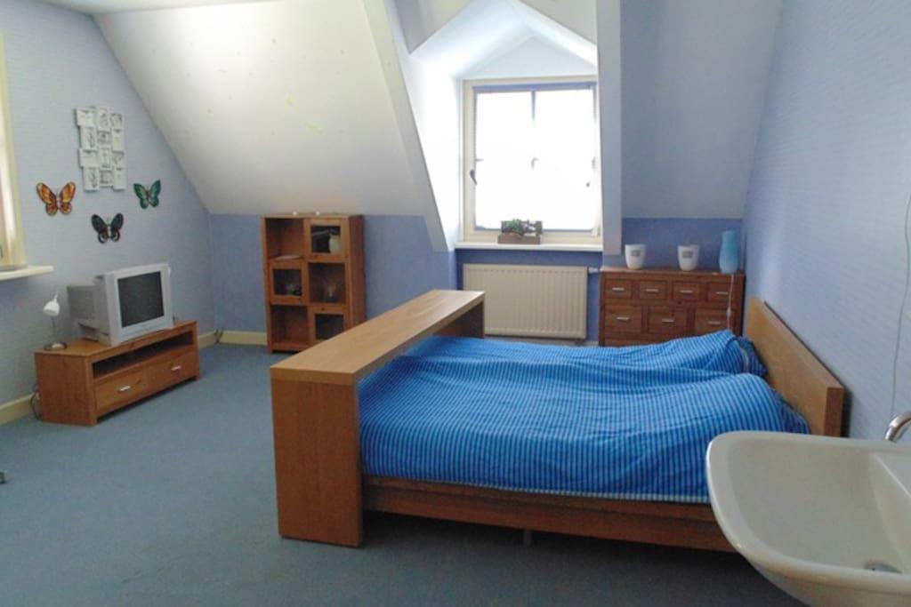blauwe kamer met uitzicht over de landerijen