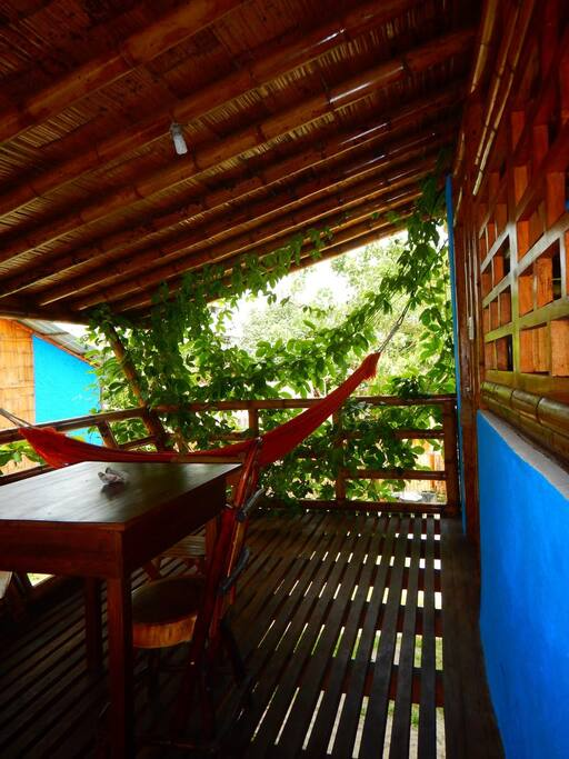 The porch - a very pleasant private space with sea view. Nice to hang out and socialize.