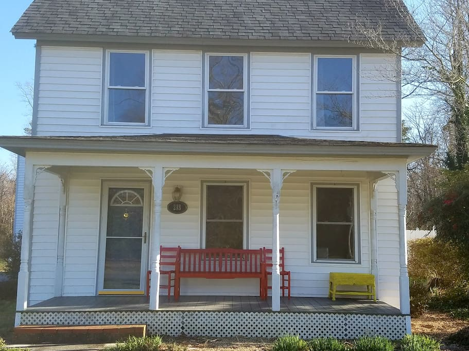 Front of the house with porch/sitting area